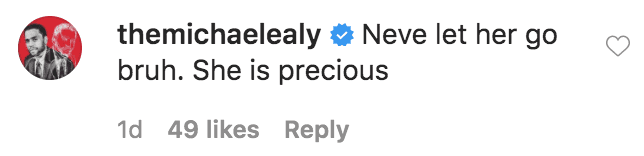 Michael Ealy commented on a photo of Tristyn Naomi Wilds eating a tub of mango-flavored baby food from the brand Yumi | Source: Instagram.com/mackwilds