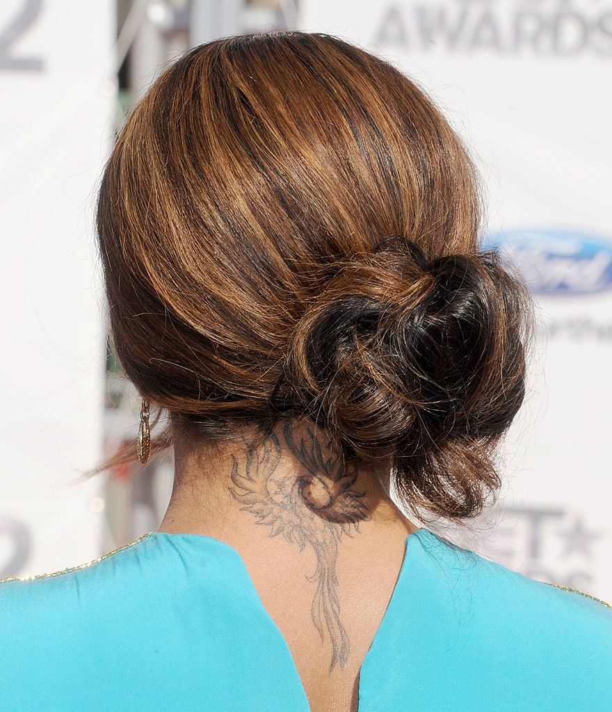 A close up of Taraji P. Henson's phoenix tattoo at the 2012 BET Awards at The Shrine Auditorium on July 1, 2012. | Photo: Getty Images