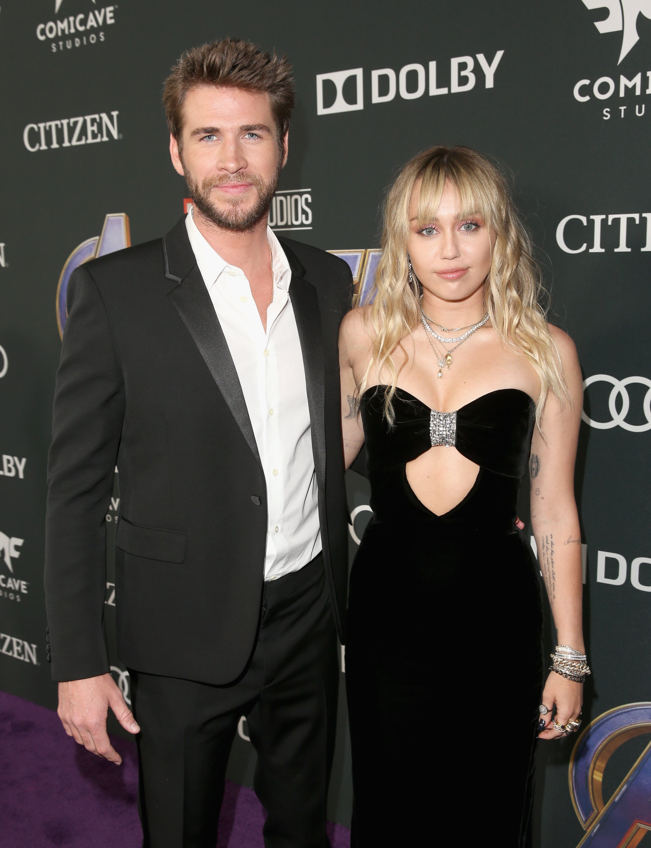 """Liam Hemsworth and Miley Cyrus at the world premiere of Marvel Studios' """"Avengers: Endgame"""" at the Los Angeles Convention Center on April 23, 2019 in California 