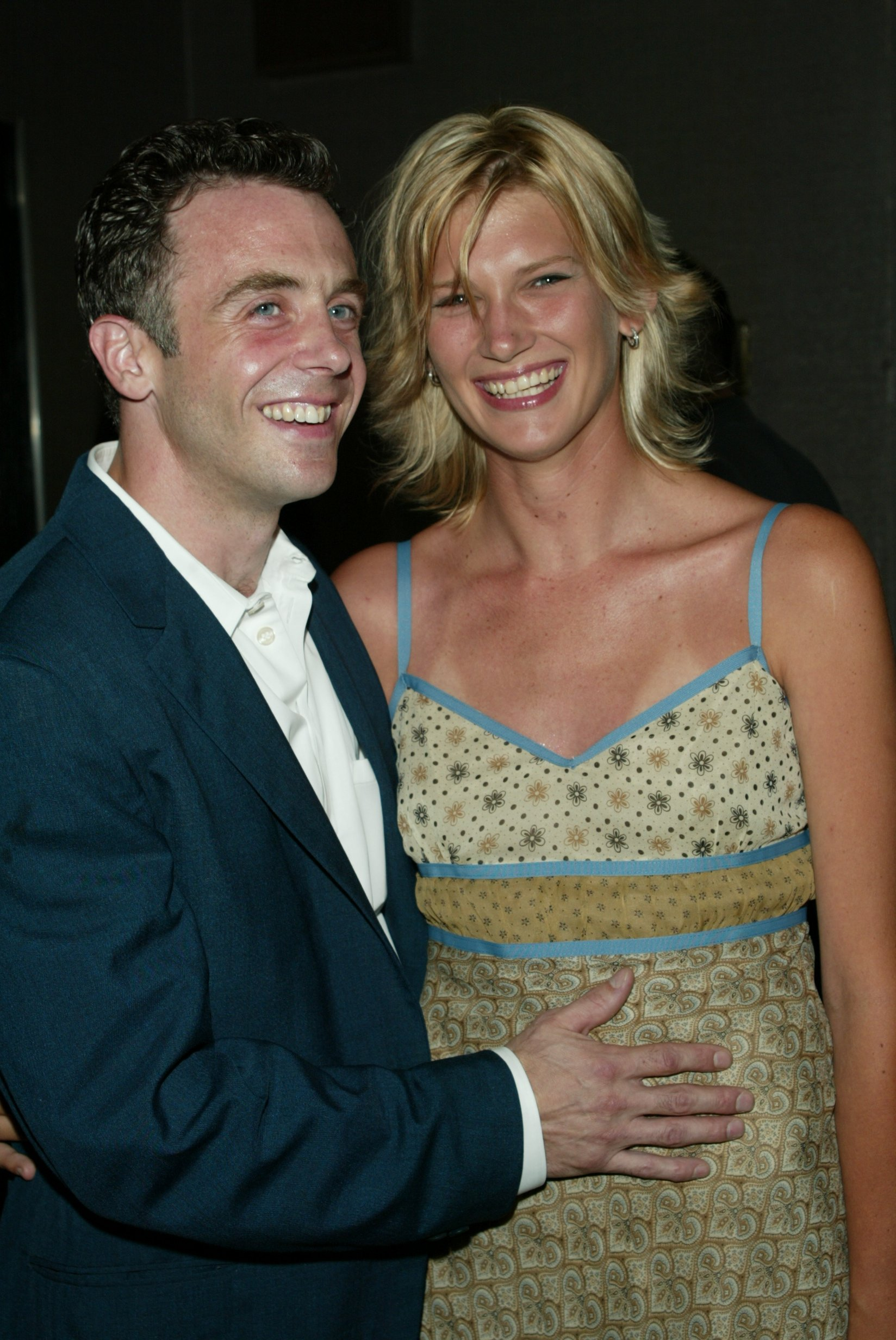 "David Eigenberg with girlfriend Chrysti Kotik arriving at the ""Tadpole"" film premiere at Cinema II in New York City. July 15, 2002 