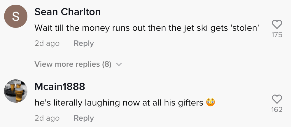 Online community members respond to a TikToker on a jet-ski that was allegedly bought using money from GoFundMe donations to repair their home   Photo: TikTok/thesmithyfamily