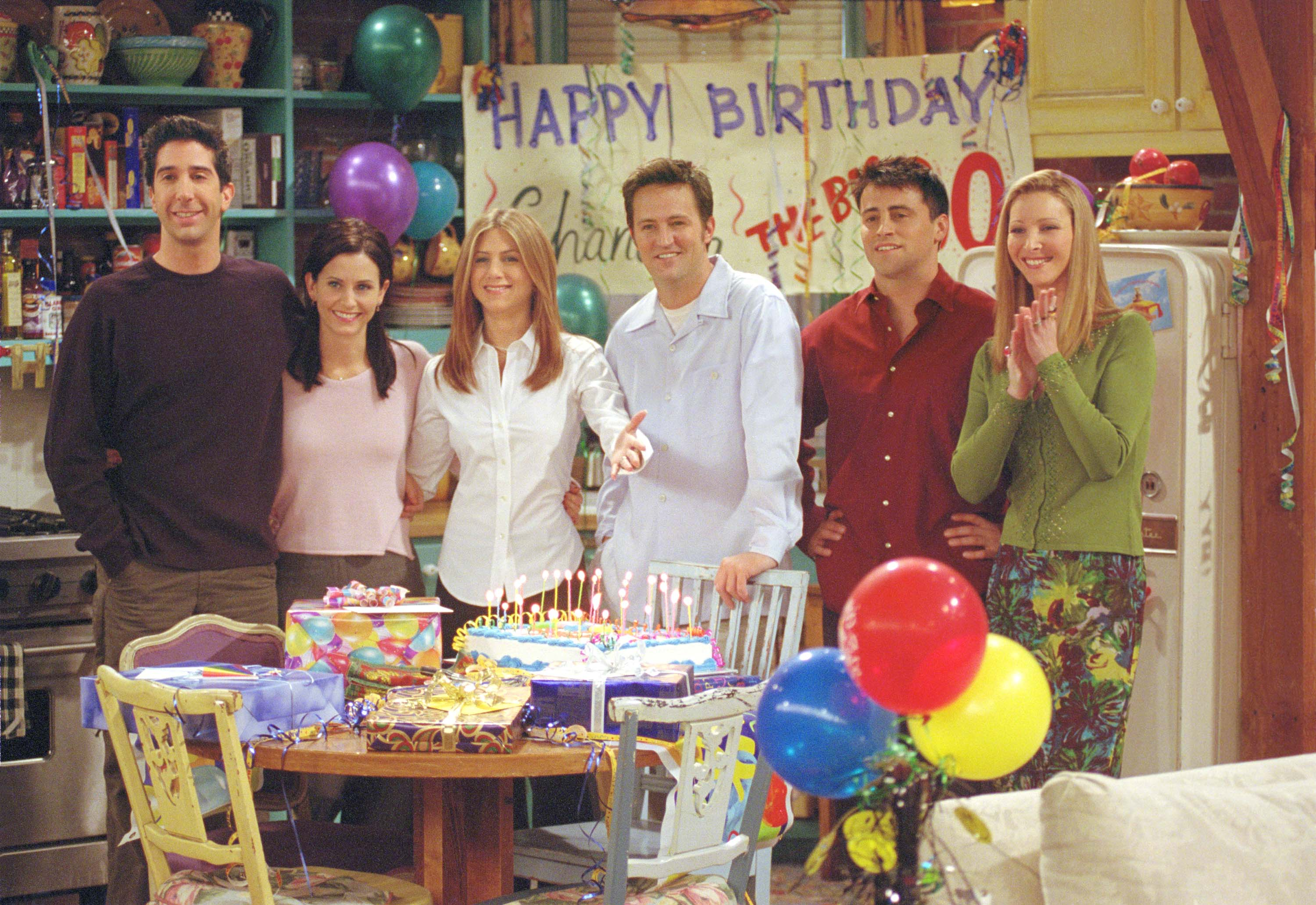 "The cast of ""Friends"" during the ""The One Where They All Turn Thirty"" episode, season seven, which aired on February 8th, 2001 