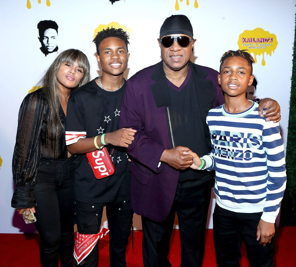 Kai Millard Morris, Kailand Morris, Stevie Wonder and Mandla Morris arrive at Kailand's 16th birthday party at Belasco Theatre on September 9, 2017. | Photo: Getty Images