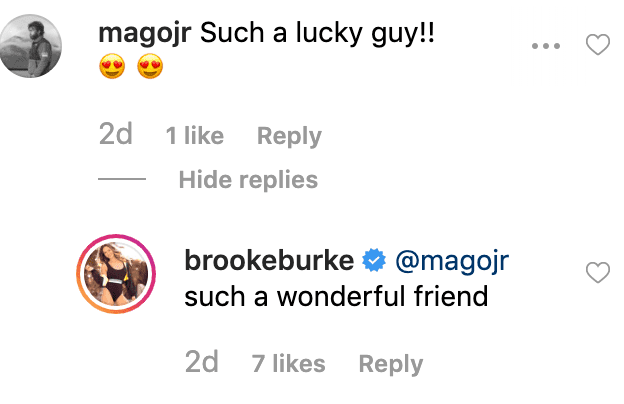 Brooke Burke replies to a fan's comment on her post. | Source: Getty Images