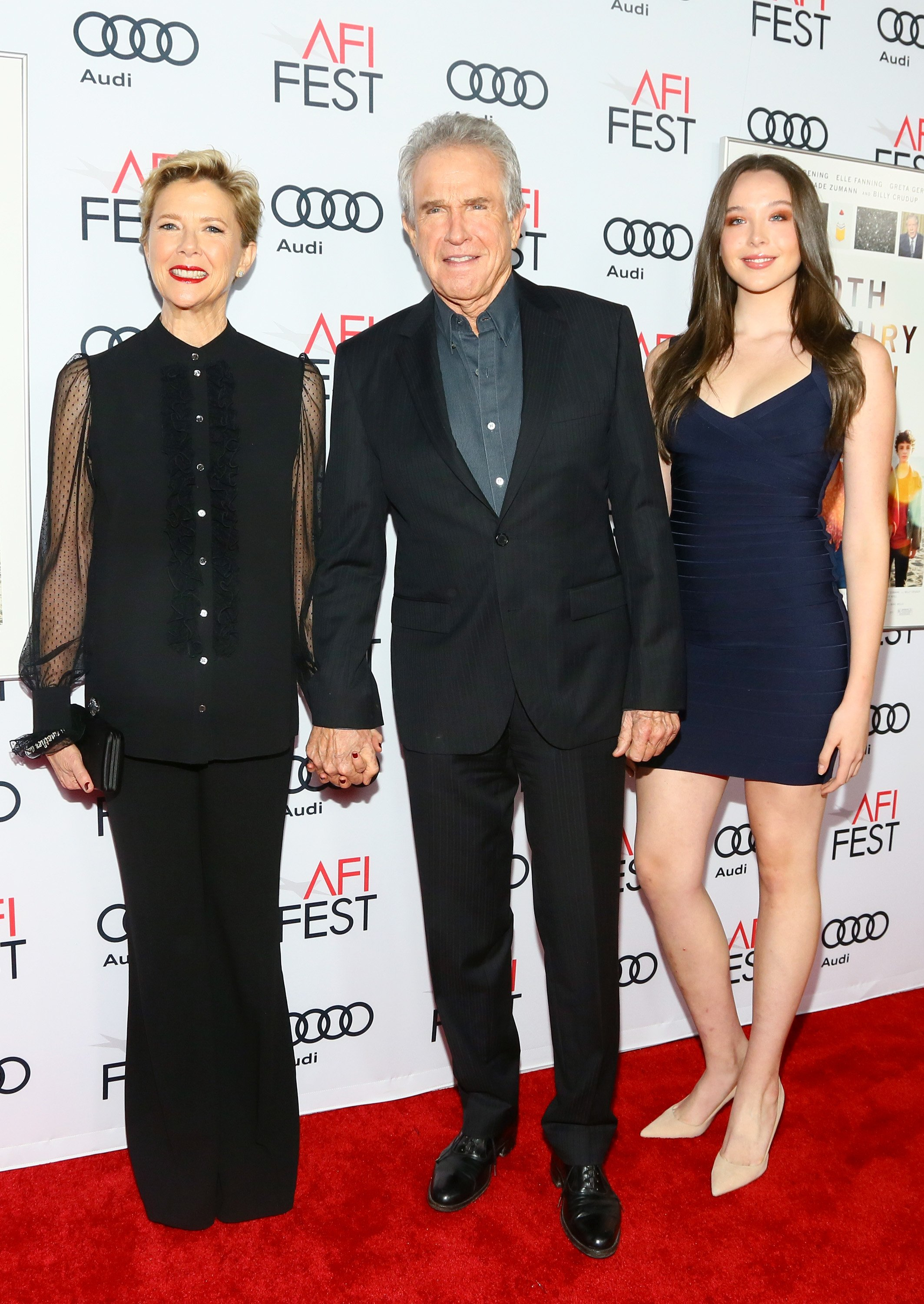 """Annette Bening, Ella Beatty and actor Warren Beatty, attend a gala screening of A24's """"20th Century Women"""" on November 16, 2016 in Hollywood, California 