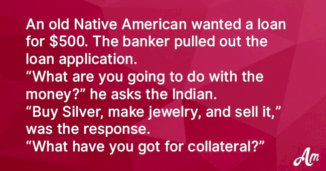 Native American applies for a loan at the bank