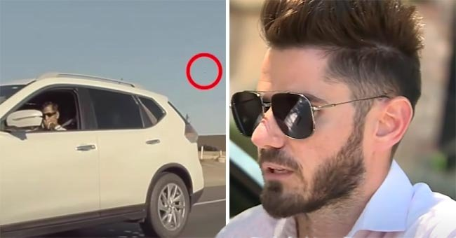 Man who shot at Razvan Glavan's vehichle, suspected to be Jose Eliseo Capacho Bonilla, looking out of a car window next to picture of the victim wearing glasses | Source:  youtube.com/CBS Sacramento