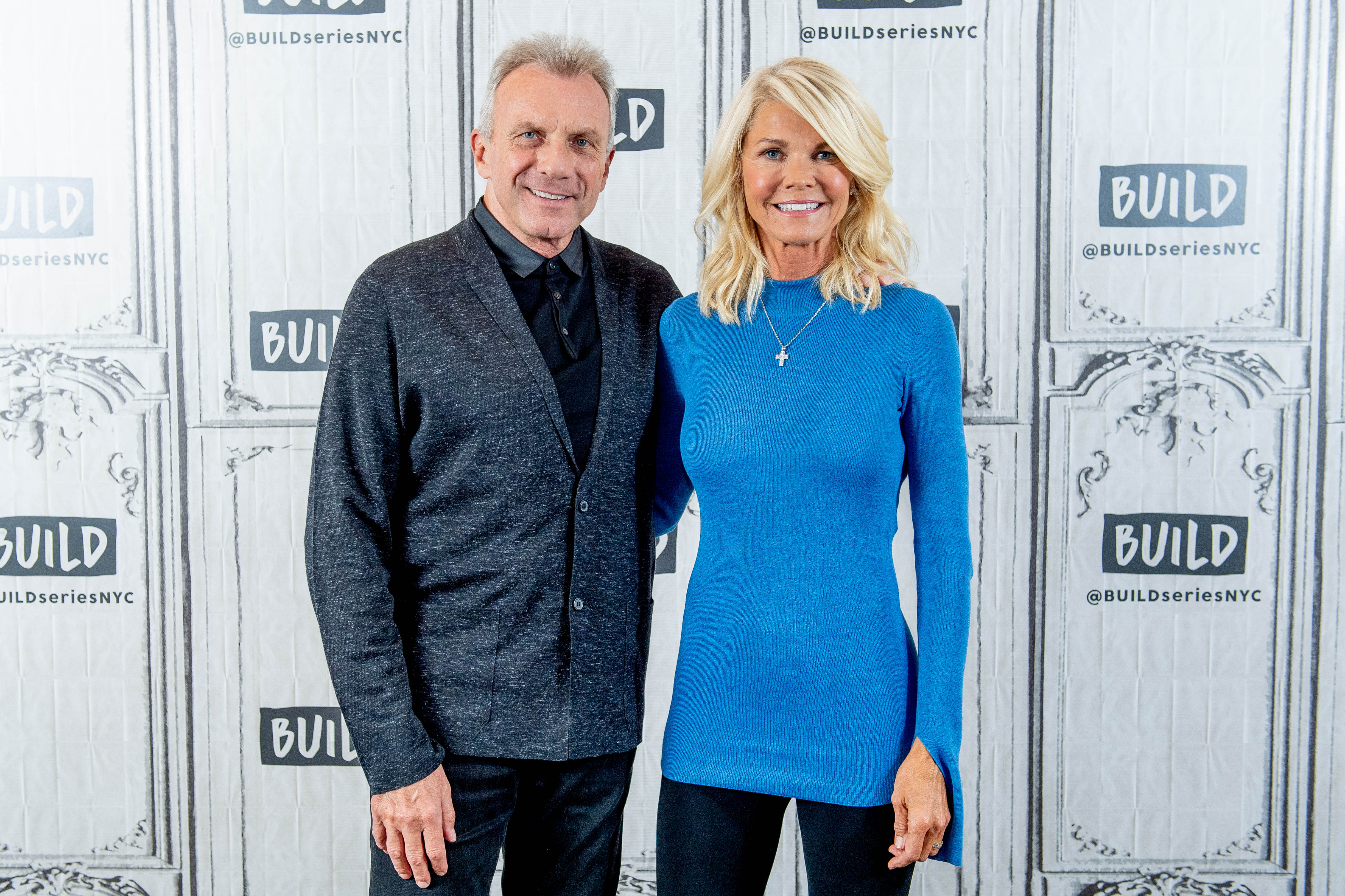 "Joe and Jennifer Montana during a discussion of ""Breakaway from Heart Disease"" with the Build Series at Build Studio in New York City 