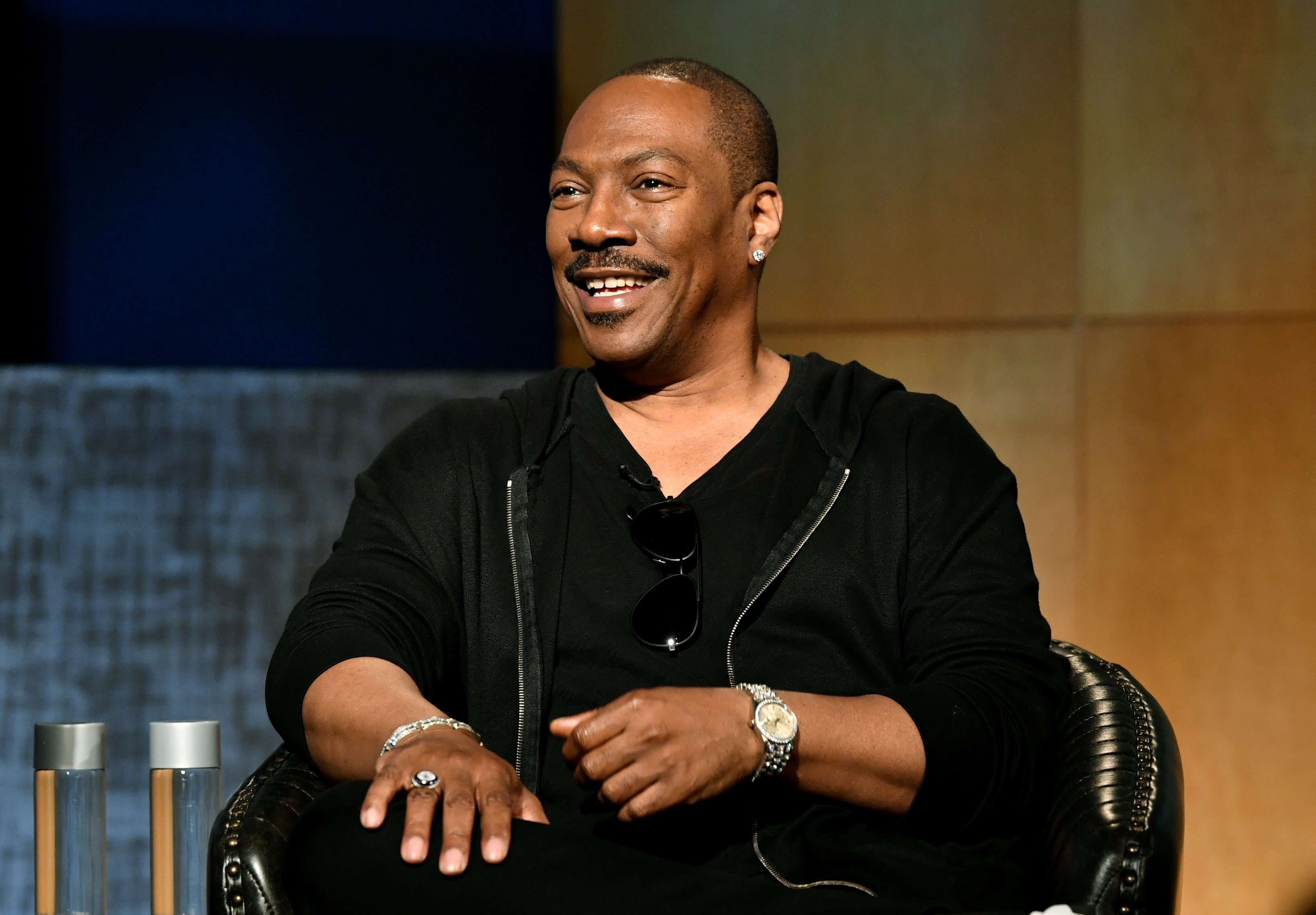 "Eddie Murphy onstage for the  ""Comedians in Cars"" at the Paley Center for Media in Beverly Hills, California in 2019. 