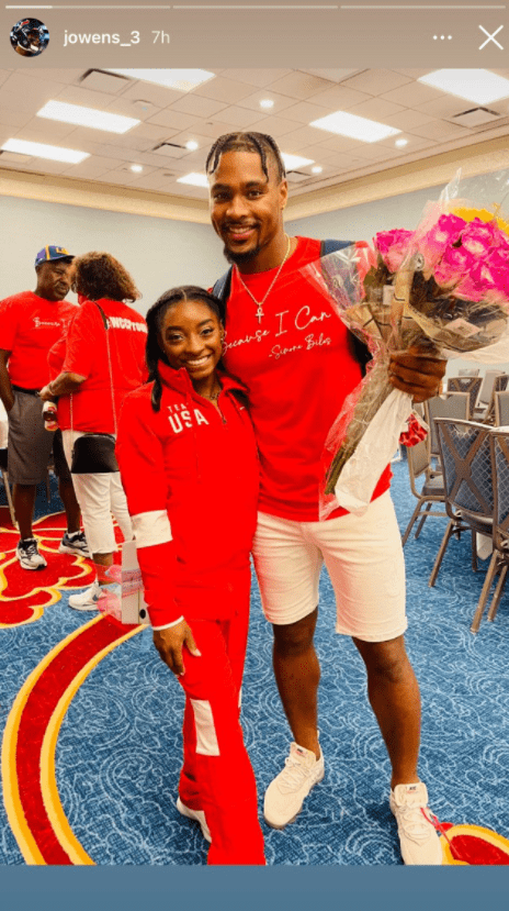Picture of Jonathan Owens and his girlfriend Simone Biles at the olympic games | Photo: Instagram/jowens_3