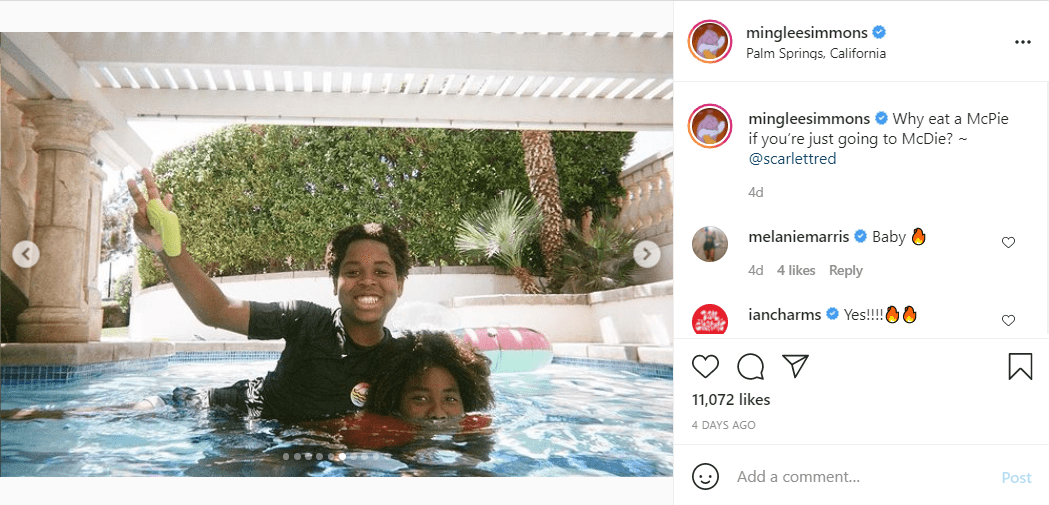 A screenshot of a post featuring Ming Lee Simmon's brothers Kenzo and Gary playing in a pool. | Source: Instagram.com/mingleesimmons