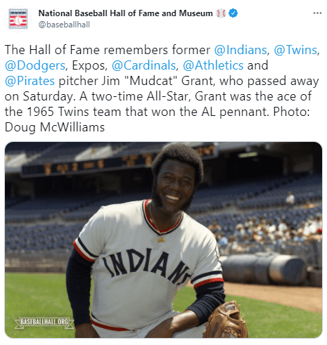 The National Baseball Hall of Fame and Museum posted a tribute for Jim Grant.   Photo: Twitter/baseballhall