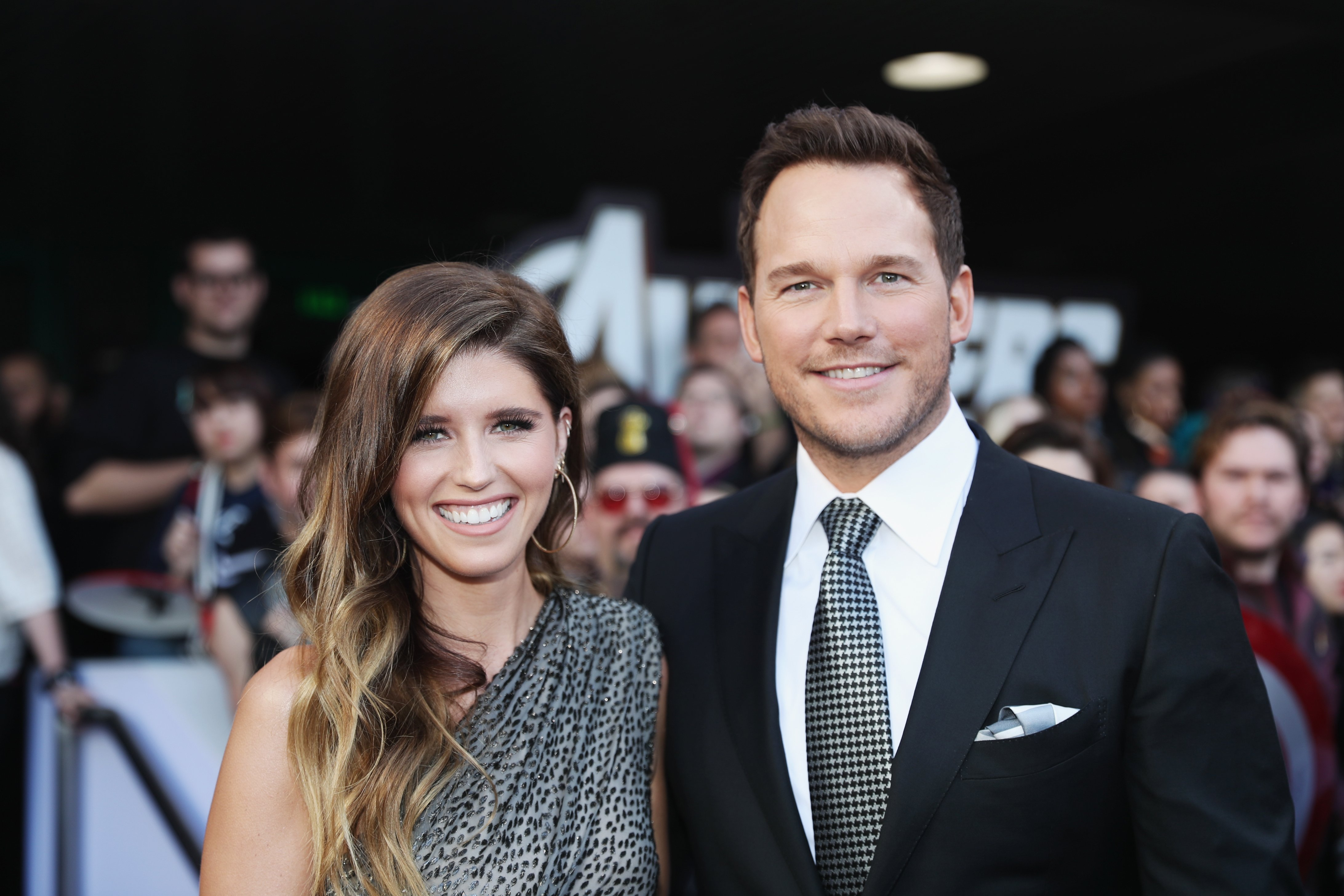 """Katherine Schwarzenegger and Chris Pratt attend the Los Angeles World Premiere of """"Avengers: Endgame"""" on April 23, 2019, in Los Angeles, California. 