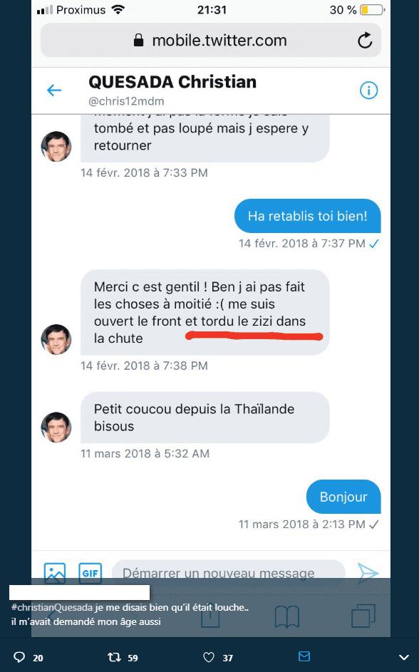 Capture d'écran du tchat de Chistian Quesada avec une utilisateur Twitter nommée Wivine. Twitter/Wiviiine