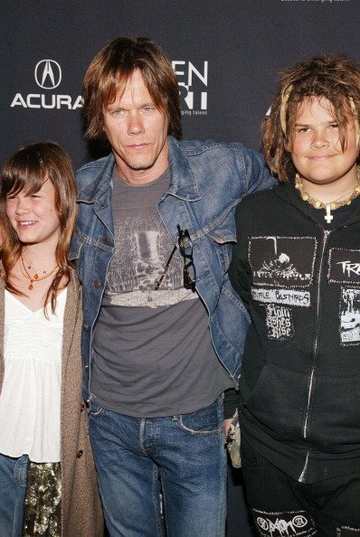Kevin Bacon and his children in 2012. Source: Getty images