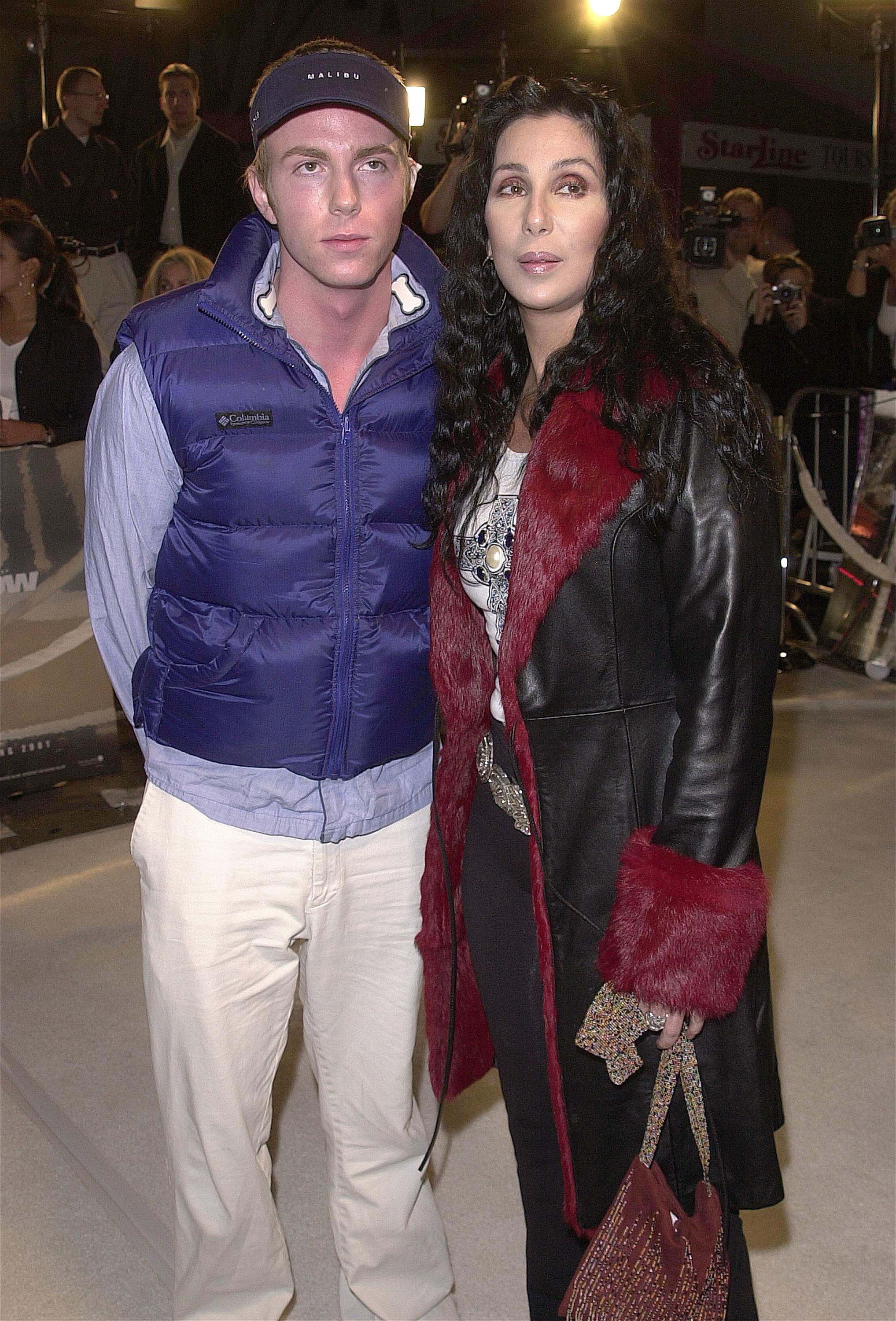 """Elijah Blue Allman and Cher at the premiere of the film """"Blow"""" on March 29, 2001, at the Mann's Chinese Theatre in Hollywood, California 