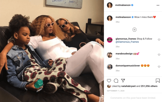 A screenshot of Tina Knowles's post on her instagram page | Photo: instagram.com/mstinalawson/