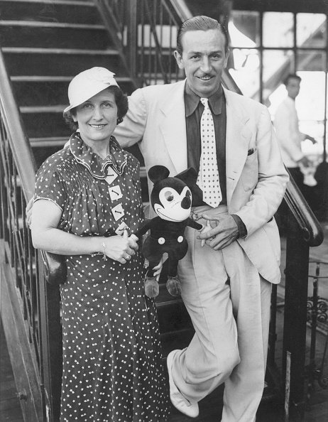Walt Disney with wife and Micky Mouse during a visit in New York, circa 1935. | Photo: Getty Images