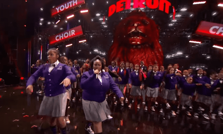 The Detroit Youth Choir perform during the final live quarter-finals on stage.   Source: YouTube/America's Got Talent