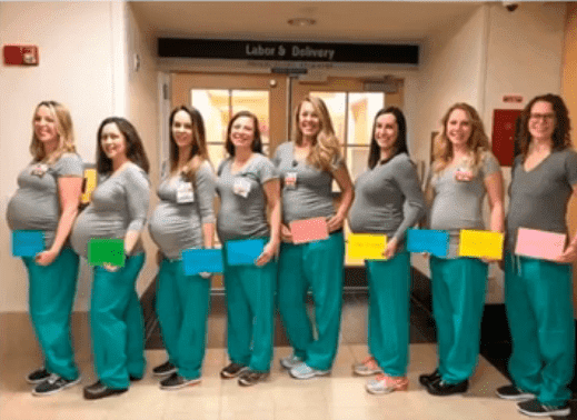 The nine nurses who got pregnant around the same time. | Photo: YouTube/Top Richest.