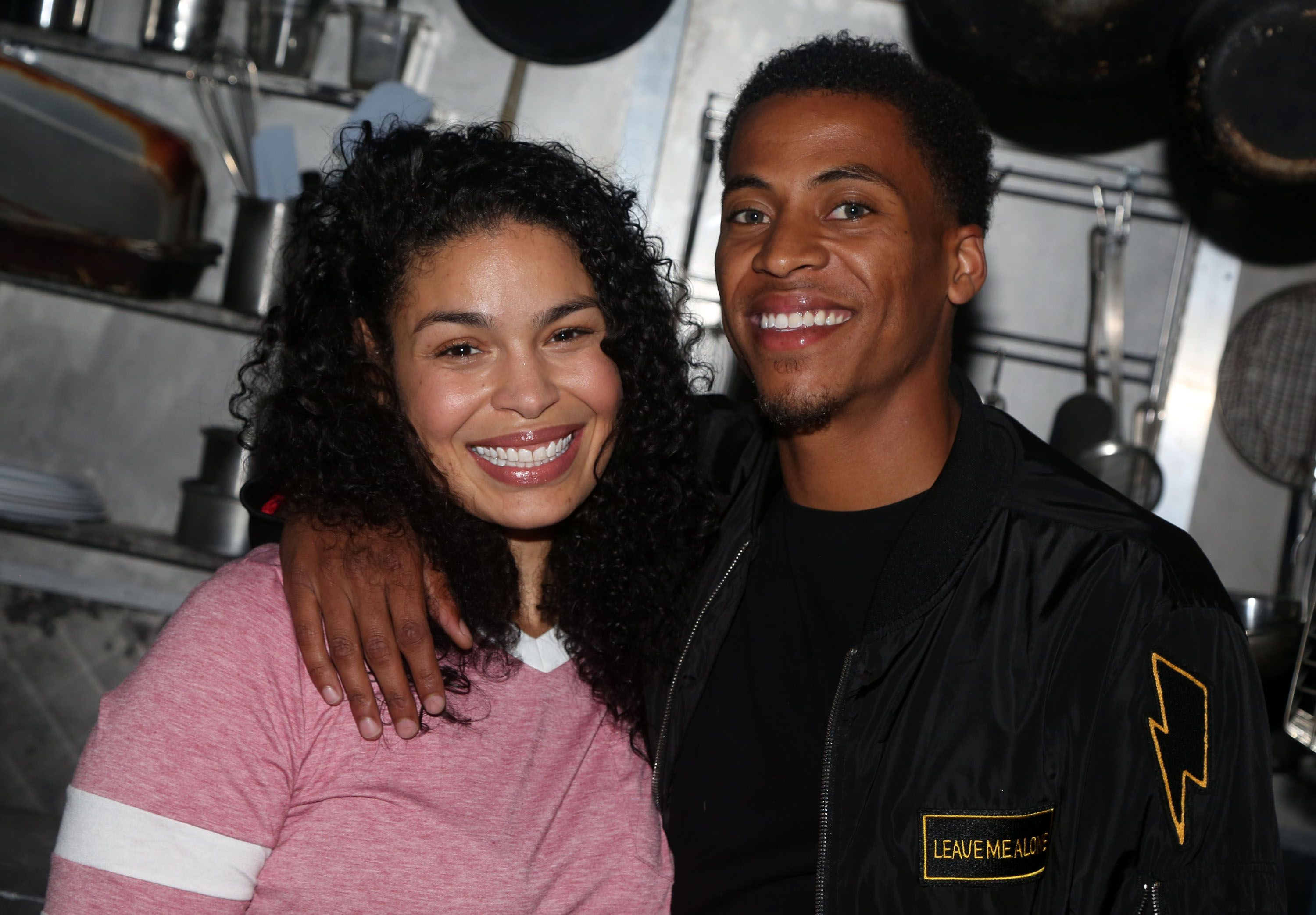 "Jordin Sparks poses backstage with husband Dana Isaiah on the Broadway production of  ""Waitress"" in 2019 in New York City 