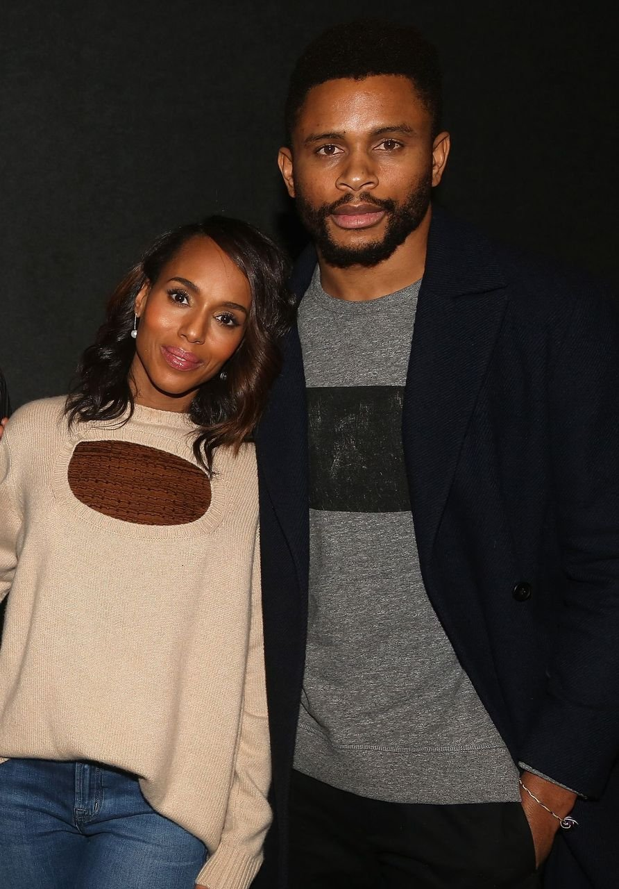 """Kerry Washington and husband Nnamdi Asomugha pose at a screening for Annapurna Pictures film """"If Beale Street Could Talk"""" hosted by Kerry Washington at Landmark 57 Theatre on November 26, 2018 in New York City. 