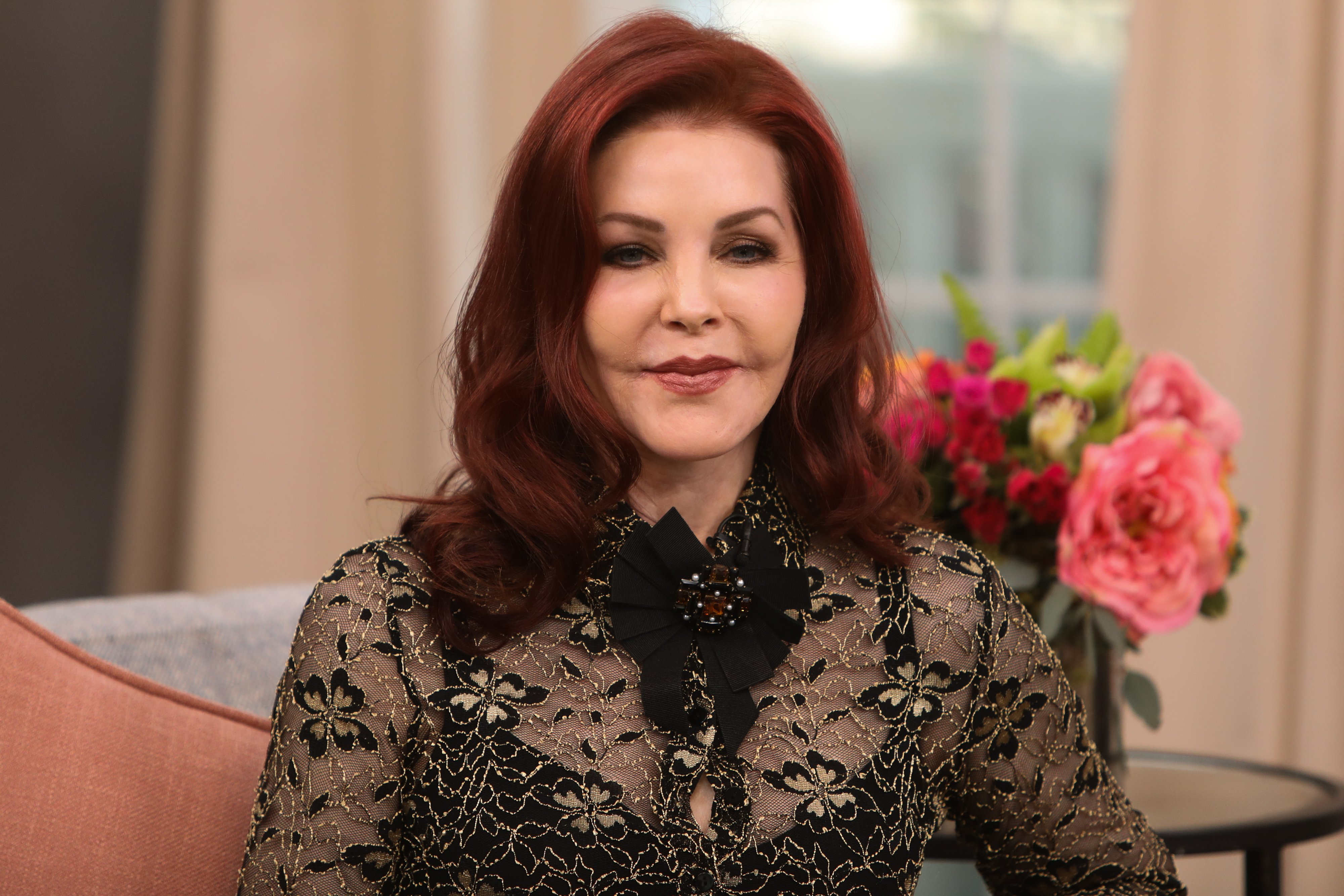 """Actress Priscilla Presley visits Hallmark Channel's """"Home & Family"""" at Universal Studios Hollywood on February 18, 2020 in Universal City, California. 