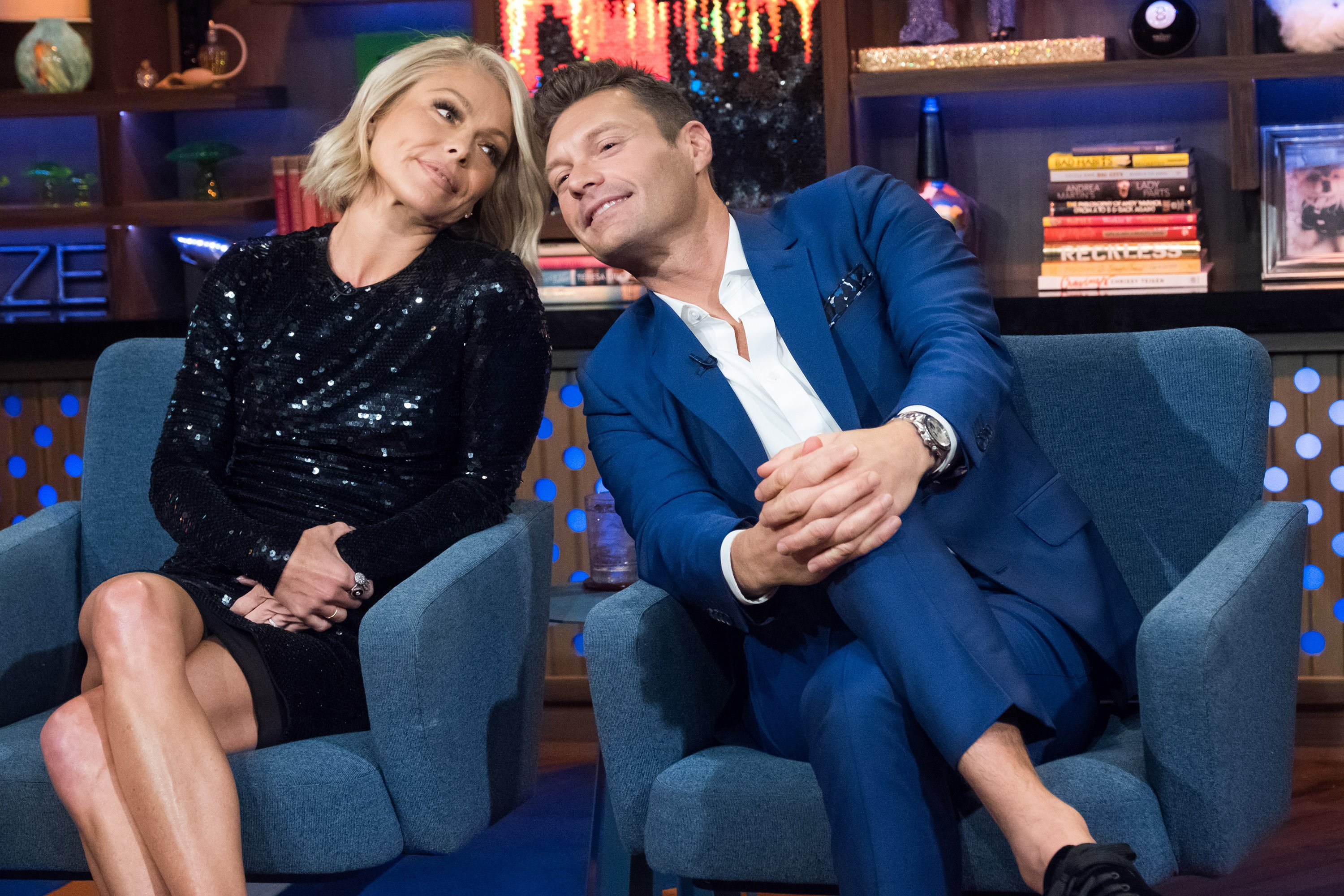 """Kelly Ripa and Ryan Seacrest during an episode of """"Watch What Happens Live With Andy Cohen"""" on September 21, 2017.   Source: Getty Images."""
