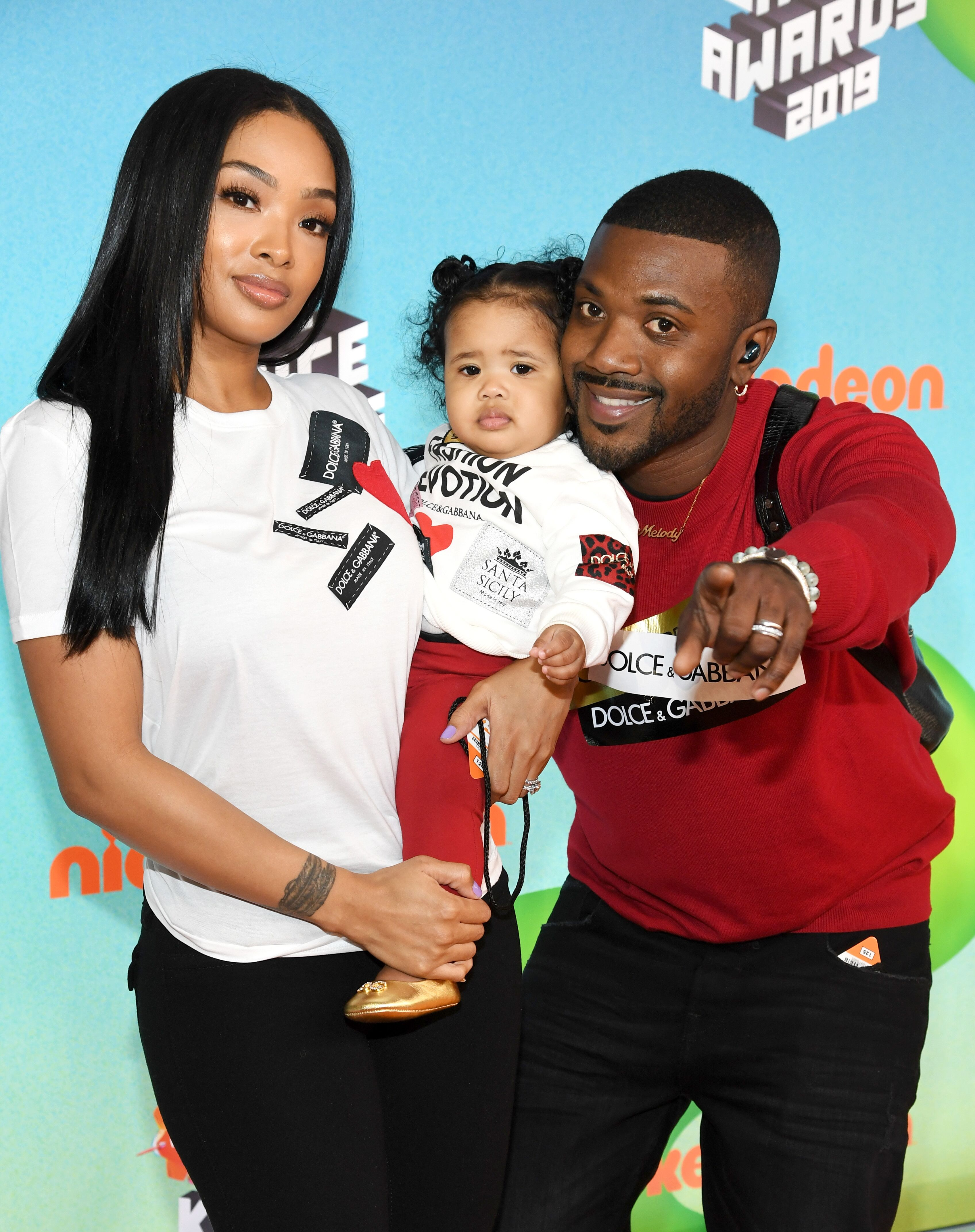 Rapper Ray J and his wife Princess Love with daughter Melody at Nickelodeon premiere/ Source: Getty Images