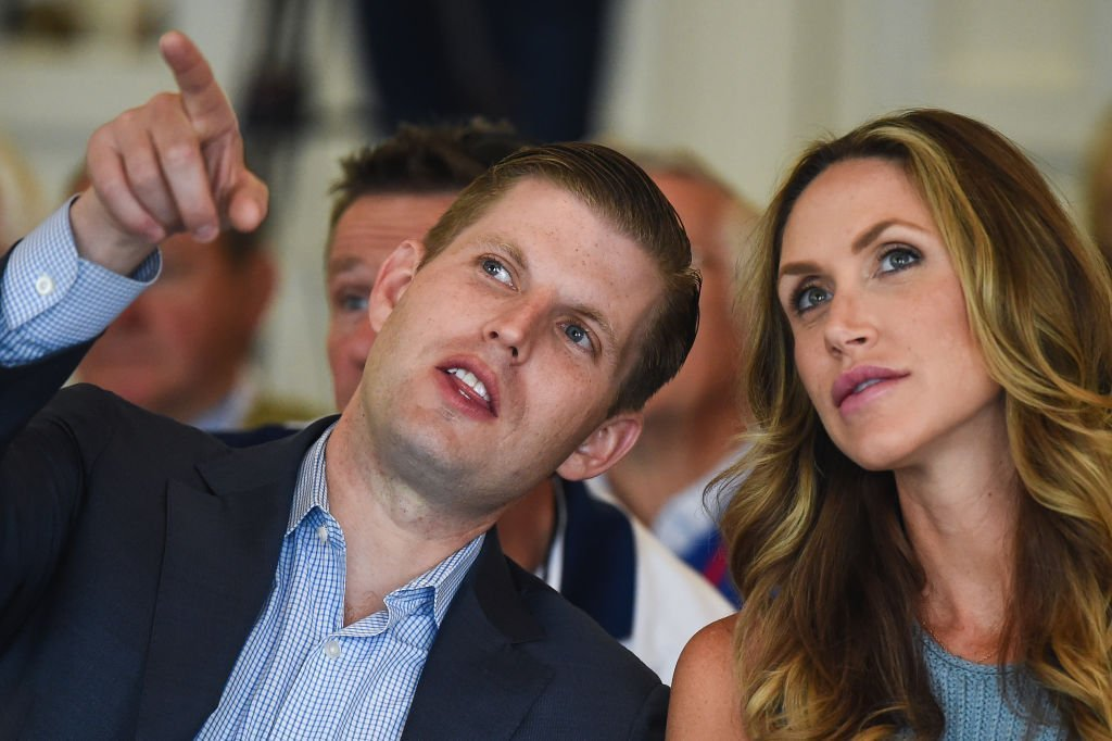 Eric Trump and his wife Lara attend the opening Trump Turnberry's new golf course the King Robert The Bruce course | Photo: Getty Images