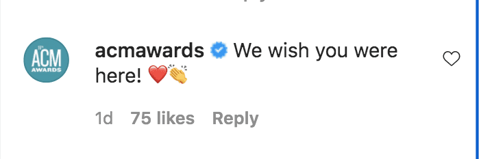 A screenshot of a fan's comment on ACM Awards's post on its instagram page | Photo: instagram.com/acmawards/