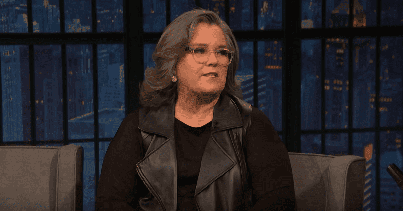 """Rosie O'Donnell speaking to Seth Meyers about the experience of being a first-time grandmother during an episode of """"Late Night Show with Seth Meyers."""" 