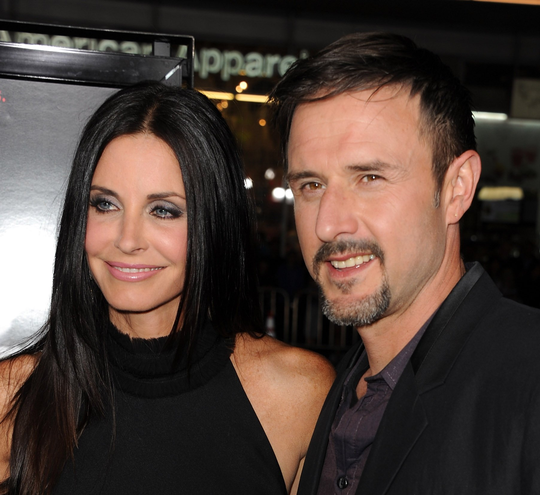 "Courteney Cox (L) and David Arquette arrive at the premiere of The Weinstein Company's ""Scream 4"" Presented by AXE Shower held at Grauman's Chinese Theatre on April 11, 2011, in Hollywood, California. 