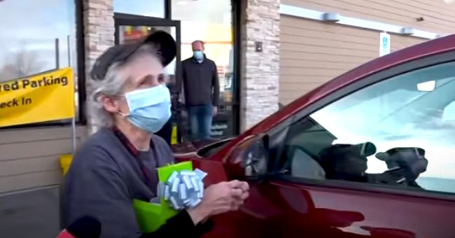 Secret Santa from Idaho Gifts 65-Year-Old Woman Working in McDonald's a New Red Car —Video