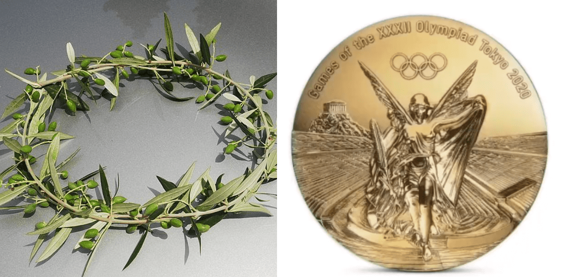 Photo of olive leaves crown and Tokyo 2020 Olympics gold medal   Source: Wikimedia Commons, Instagram/olympics