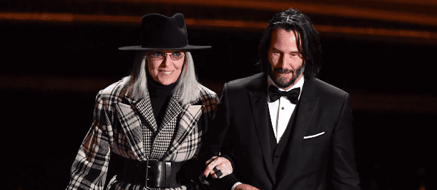 Keanu Reeves and Diane Keaton presenting the the award for Best Original Screenplay at the 2020 Oscars. | Source: YouTube/Access.