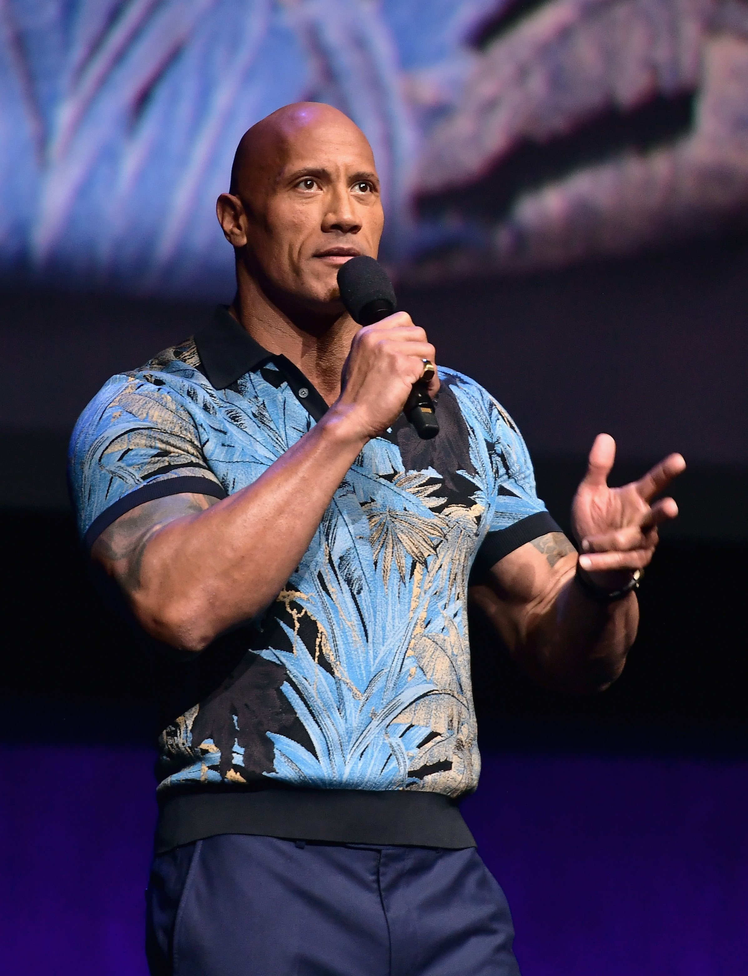 Dwayne Johnson speaks onstage at CinemaCon 2019 at The Colosseum at Caesars Palace, on April 3, 2019 in Las Vegas, Nevada. | Source: Getty Images.