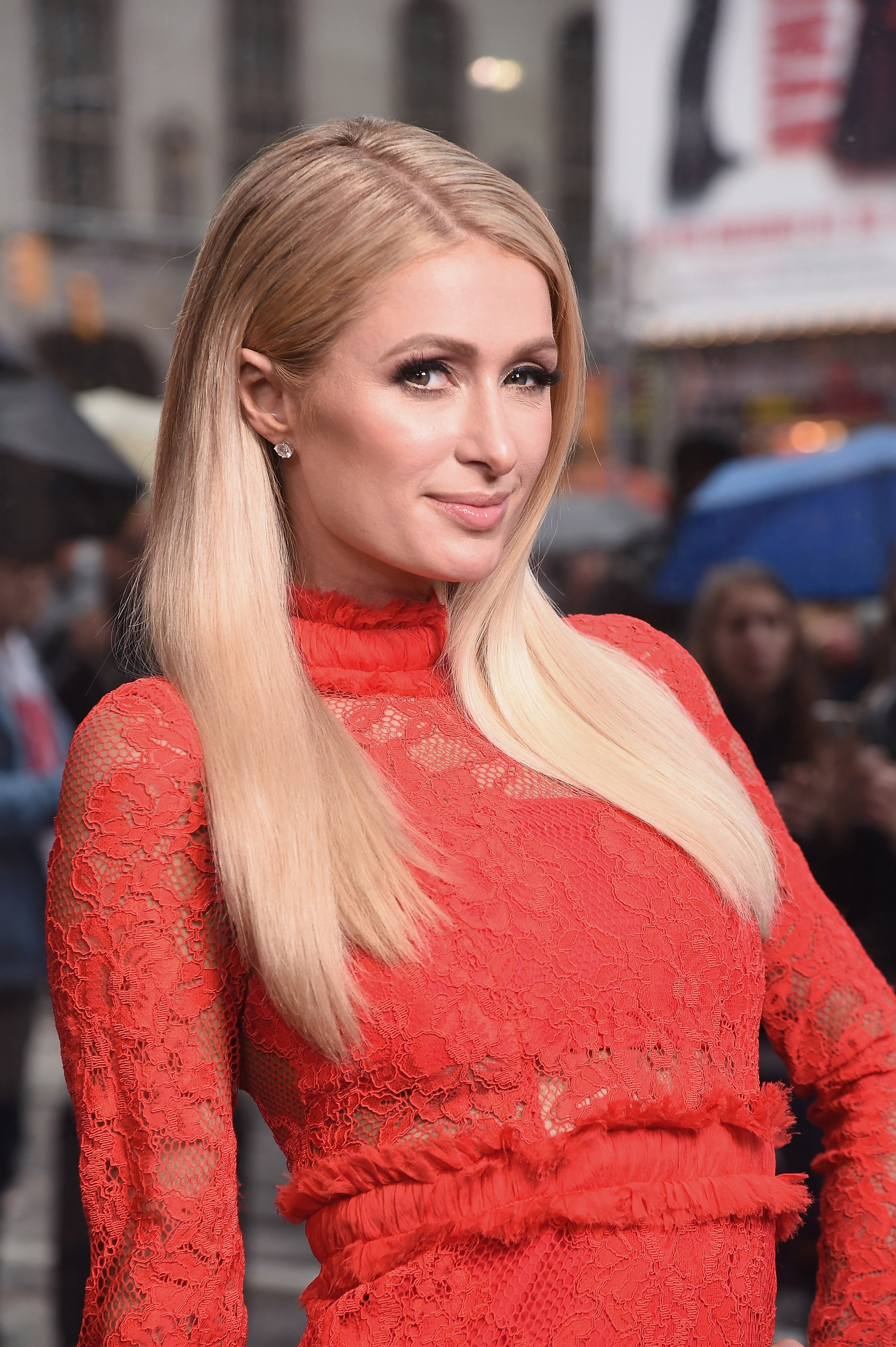 "Paris Hilton visits 'Extra"" at The Levi's Store Times Square on May 13, 2019 in New York City 