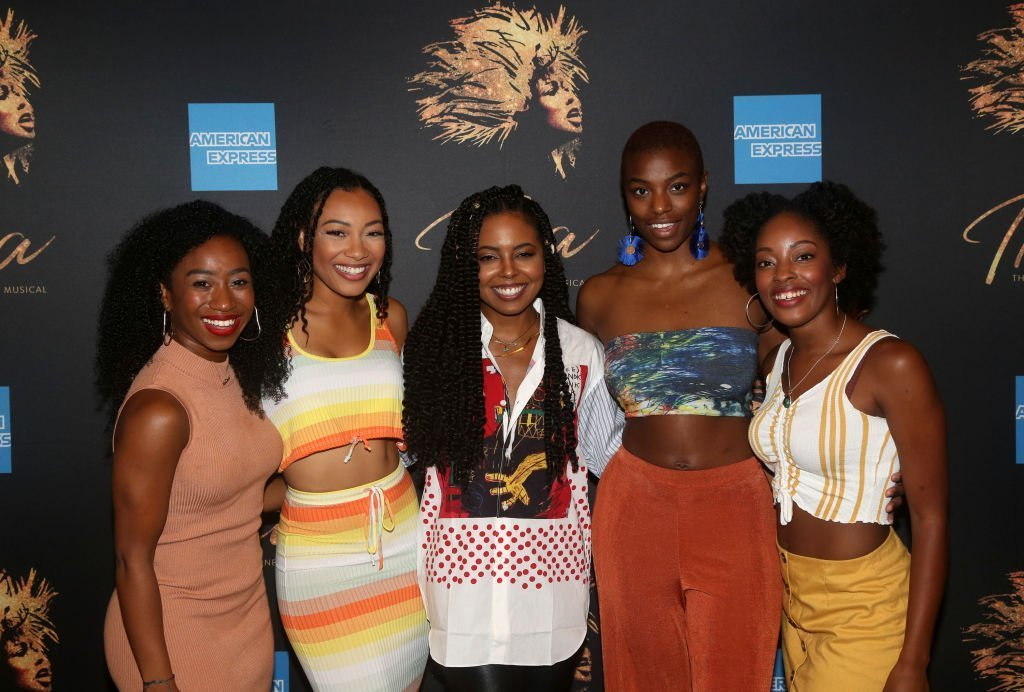 """Destinee Rea, Holly Conway, Adrienne Warren, Mars Rucker and Kayla Davion pose at a photo call for the new broadway musical """"Tina - The Tina Turner Musical"""" at The New 42nd Street Studios 