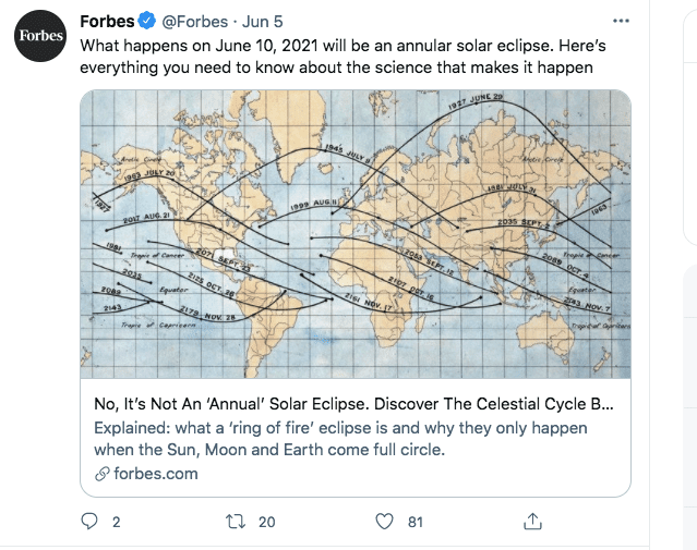 A screenshot of the details of an annular eclipse   Photo: twitter.com/Forbes