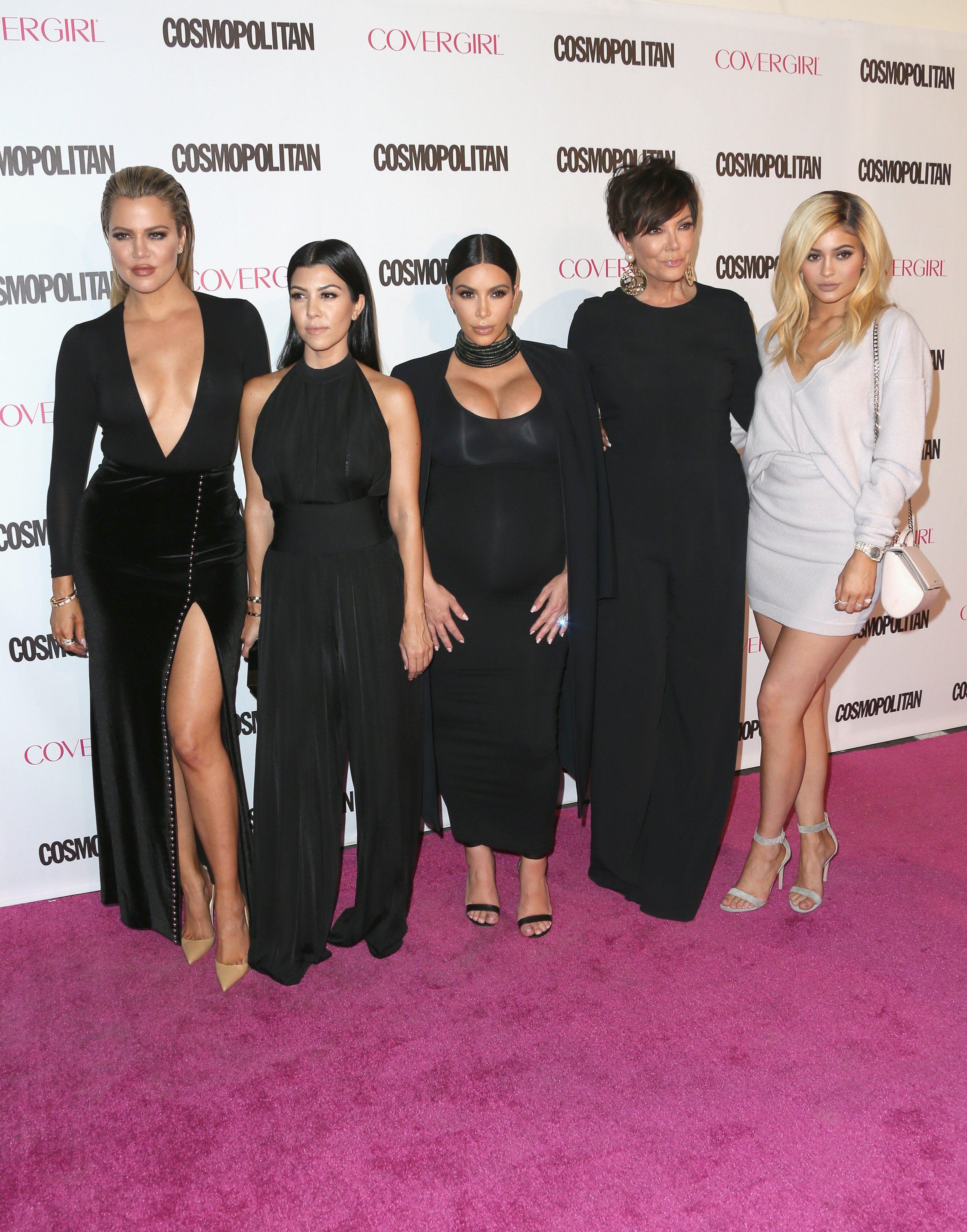 Khloe Kardashian, Kourtney Kardashian, Kim Kardashian, Kris Jenner and Kylie Jenner attend Cosmopolitan's 50th Birthday Celebration at Ysabel on October 12, 2015, in West Hollywood, California. | Source: Getty Images.