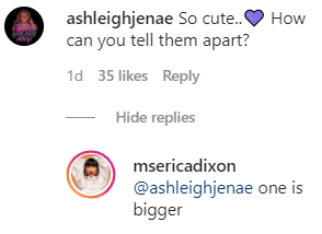 One Instagram follower's question to reality star Erica Dixon, who replied that one of her twins is bigger than the other. | Photo: instagram.com/msericadixon
