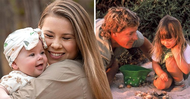 Bindi Irwin holding her daughter Grace Warrior on the left and Steve Irwin with a younger Bindi on the right   Photo: Instagram.com/bindisueirwin