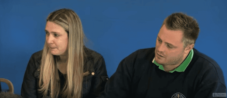Kelly and Daniel Peat during a press conference on June 2, 2015 in Mansfield, Derbyshire, Source: YouTube/5 News