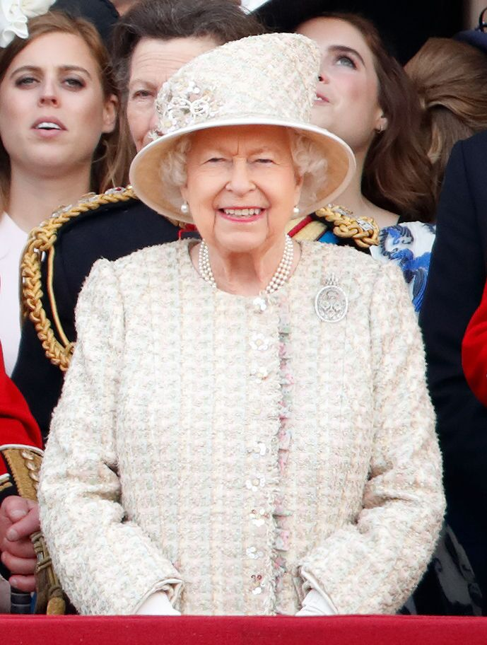 Queen Elizabeth II watches a flypast from the balcony of Buckingham Palace during Trooping The Colour, the Queen's annual birthday parade, on June 8, 2019 in London, England | Photo: Getty Images