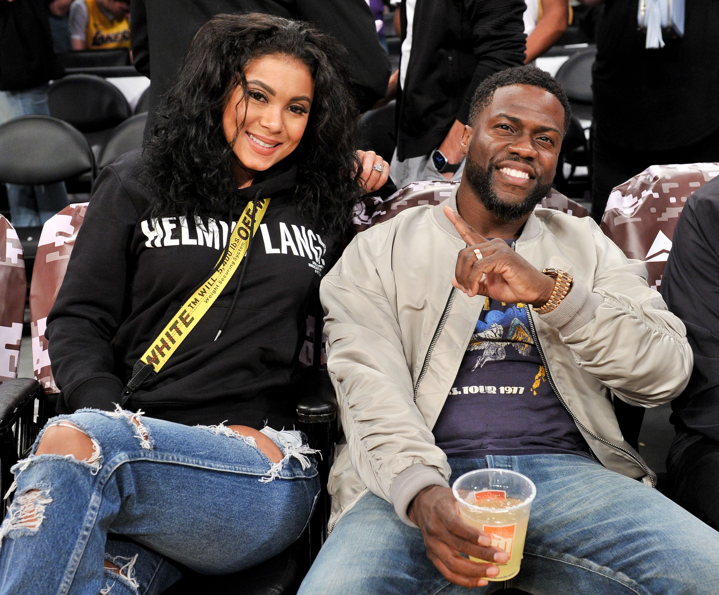 Kevin Hart and Eniko Parrish at a Los Angeles Lakers and the Atlanta Hawks basketball game on November 17, 2019, in Los Angeles, California | Photo: Allen Berezovsky/Getty Images