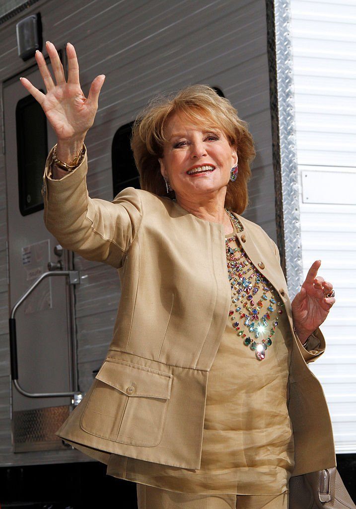 """Barbara Walters leaves after the final episode of """"The Late Show with David Letterman"""" at the Ed Sullivan Theater  