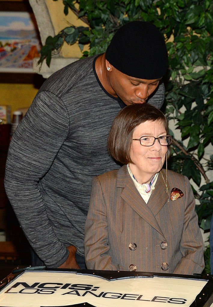 "L.L. Cool J and Linda Hunt share a moment at CBS' ""NCIS: Los Angeles"" 100th episode celebration 