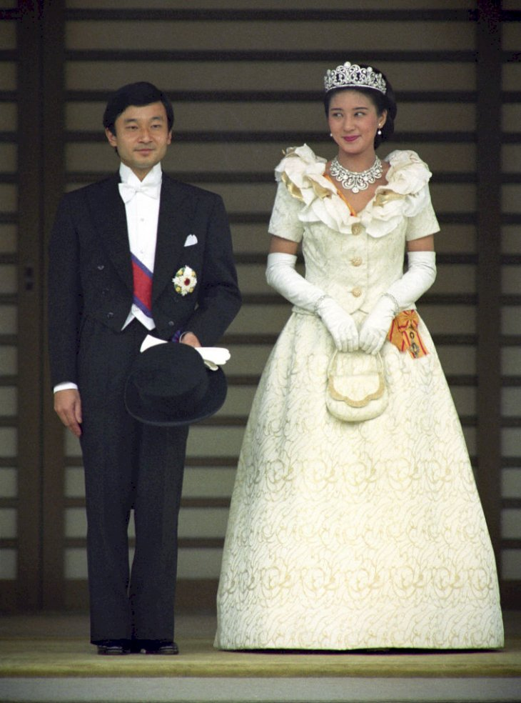 Photo taken June 9, 1993, shows Japanese Crown Prince Naruhito and Crown Princess Masako on their wedding day after an audience with the emperor and empress at the Imperial Palace in Tokyo. Crown Prince Naruhito is set to become emperor on May 1, 2019. (Kyodo) ==Kyodo (Photo by Kyodo News Stills via Getty Images)
