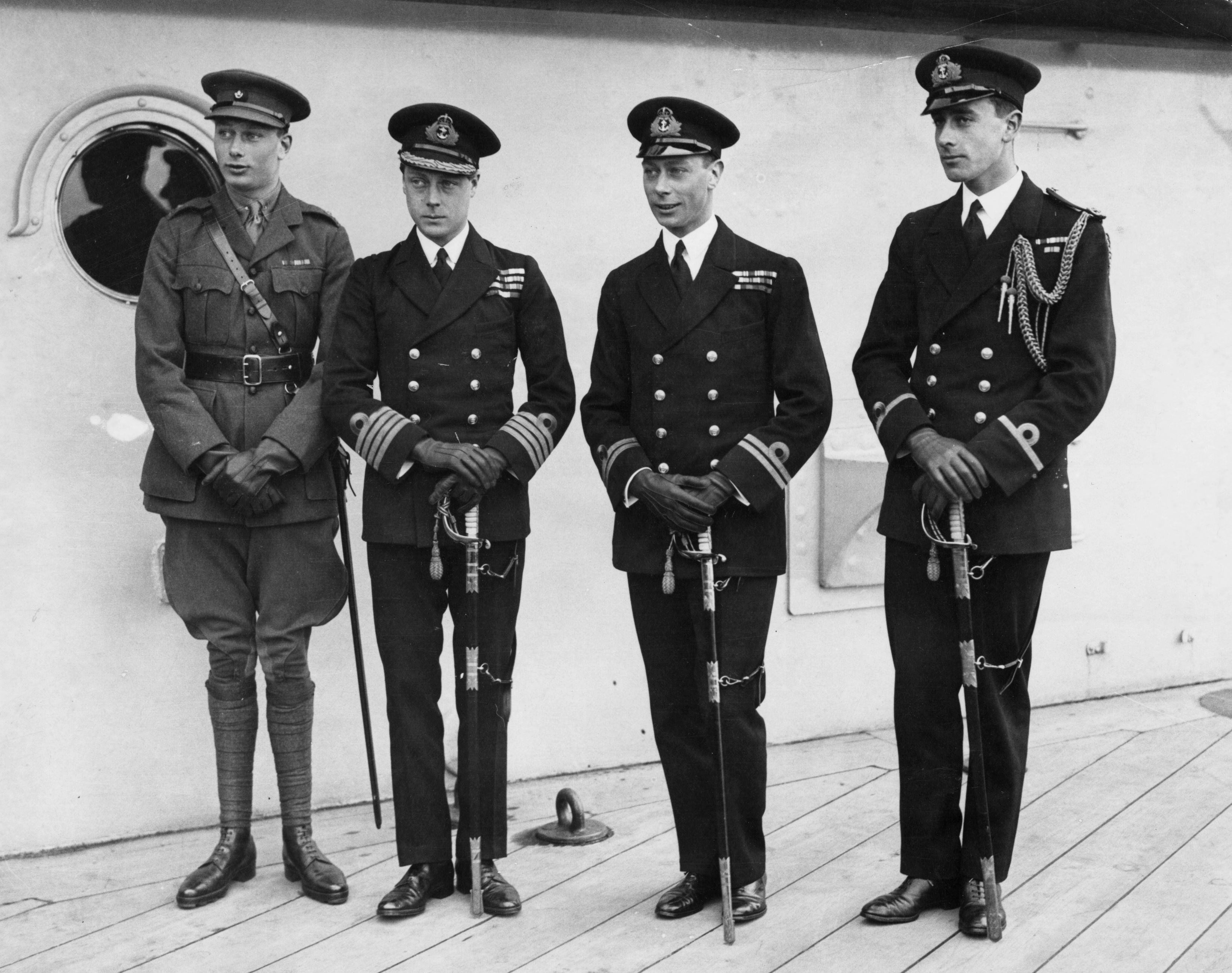 Edward, Prince Of Wales, the  Duke of Gloucester, George Duke of York and Lord Louis Mountbatten in 1920 | Source: Getty Images